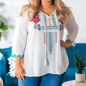 Impressions Embroidered Top 3x NWT